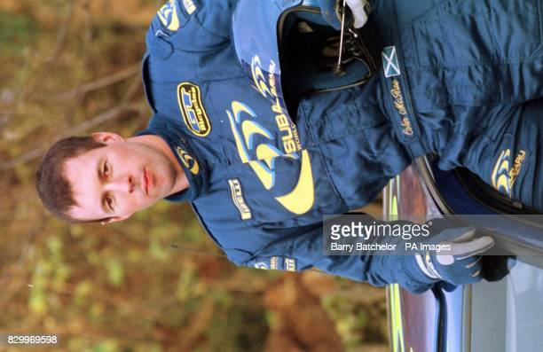 Colin McRae with his Subaru at Great Tew Oxfordshire today Photo Barry Batchelor/PA