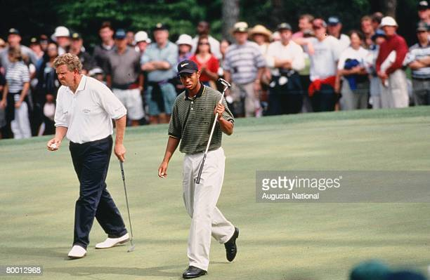 Colin Montgomerie And Tiger Woods Exit A Green During The 1997 Masters Tournament