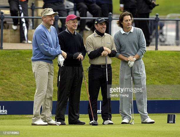 Colin Montgomerie Michael Douglas Paul McGinley and Kyle MacLaclan during the second round of the Dunhill Links Championship at St Andrews on...