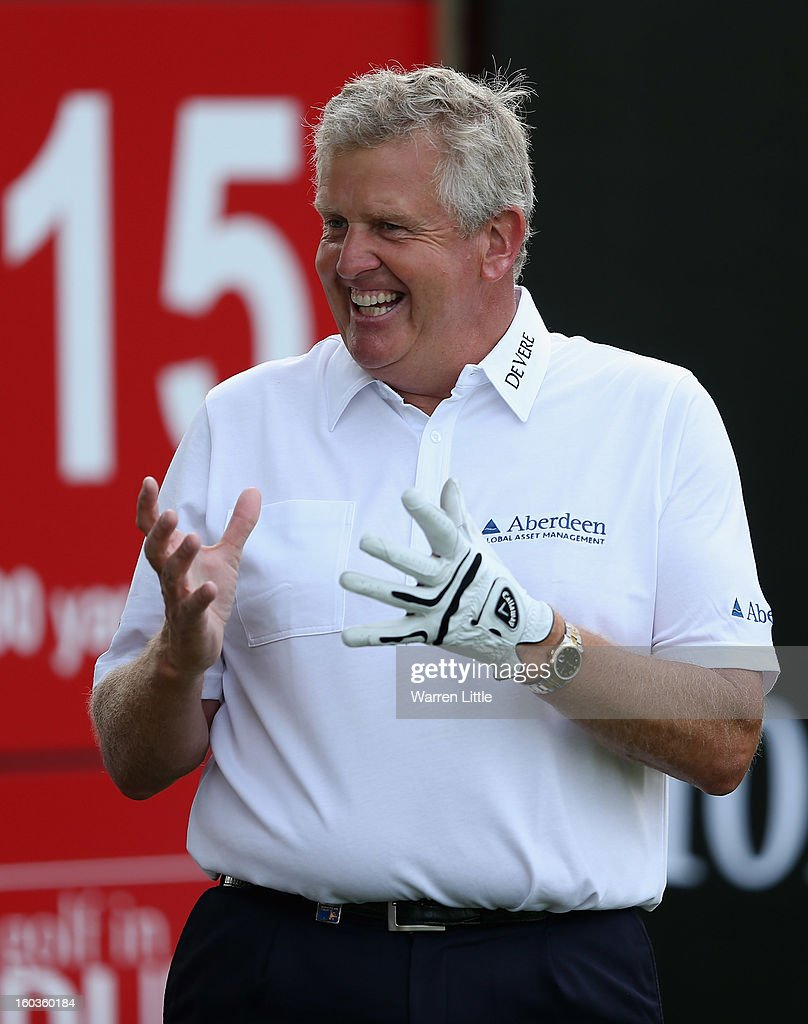 Colin Montgomerie of Scotland gestures during the pro-am of the Omega Dubai Desert Classic at Emirates Golf Club on January 30, 2013 in Dubai, United Arab Emirates.