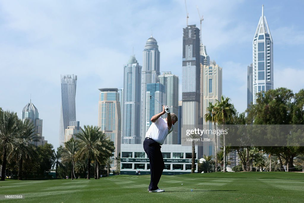 Colin Montgomerie of Scotland in action during a practice round ahead of the Omega Dubai Desert Classic on January 29, 2013 in Dubai, United Arab Emirates.