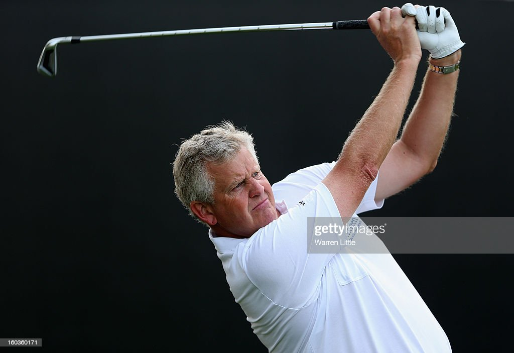 Colin Montgomerie of Scotland in action during the pro-am of the Omega Dubai Desert Classic at Emirates Golf Club on January 30, 2013 in Dubai, United Arab Emirates.
