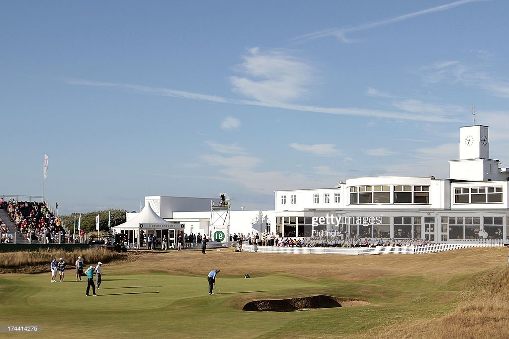 <a gi-track='captionPersonalityLinkClicked' href=/galleries/search?phrase=Colin+Montgomerie&family=editorial&specificpeople=157549 ng-click='$event.stopPropagation()'>Colin Montgomerie</a> of Scotland in action on the 18th green during the first round of The Senior Open Championship played at Royal Birkdale Golf Club on July 25, 2013 in Southport, United Kingdom.