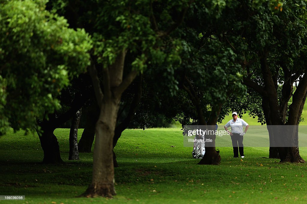 <a gi-track='captionPersonalityLinkClicked' href=/galleries/search?phrase=Colin+Montgomerie&family=editorial&specificpeople=157549 ng-click='$event.stopPropagation()'>Colin Montgomerie</a> of Scotland looks through the trees on the sixth hole during the first round of the Volvo Golf Champions at Durban Country Club on January 10, 2013 in Durban, South Africa.