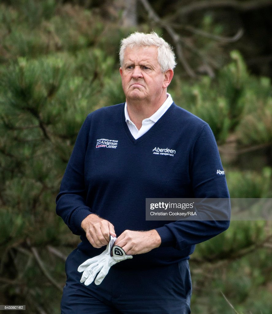 <a gi-track='captionPersonalityLinkClicked' href=/galleries/search?phrase=Colin+Montgomerie&family=editorial&specificpeople=157549 ng-click='$event.stopPropagation()'>Colin Montgomerie</a> of Scotland on the 3rd tee at the Open Championship Qualifying - Gailes on June 28, 2016 in Irvine Ayrshire Scotland.