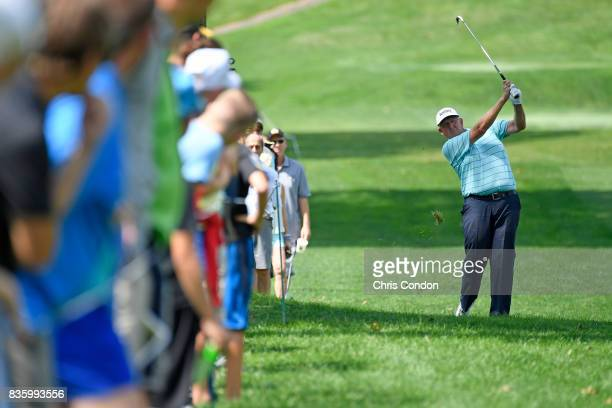 Colin Montgomerie of Scotland plays from the 6th fairway during the final round of the PGA TOUR Champions DICK'S Sporting Goods Open at EnJoie Golf...