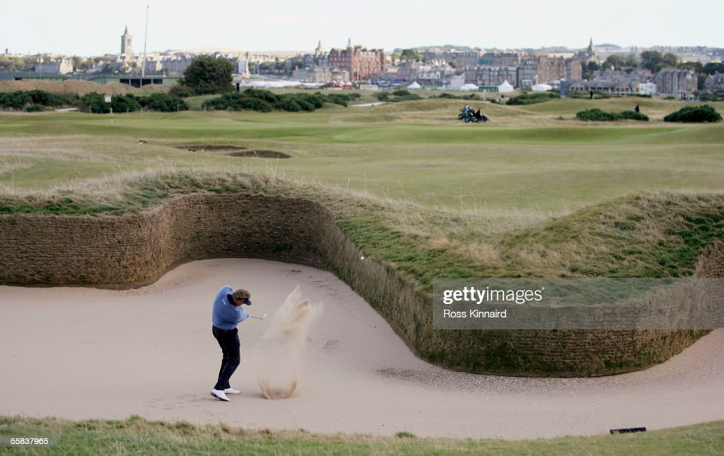 Colin Montgomerie of Scotland plays out of Hells Bunker on the 14th hole during the final round of the Dunhill Links Championships on the Old Course...