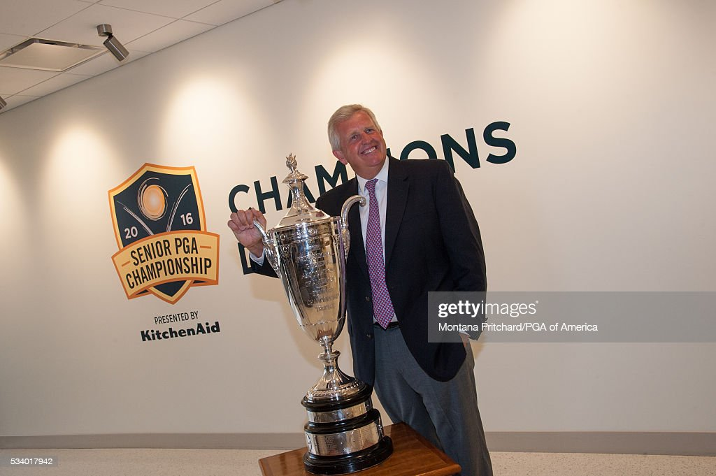 <a gi-track='captionPersonalityLinkClicked' href=/galleries/search?phrase=Colin+Montgomerie&family=editorial&specificpeople=157549 ng-click='$event.stopPropagation()'>Colin Montgomerie</a> of Scotland poses with the Alfred S. Bourne trophy during the Champions' Dinner at the 77th Senior PGA Championship presented by KitchenAid held at the Whirpool Corporation Global Headquarters on May 24, 2016 in Benton Harbor, Michigan.