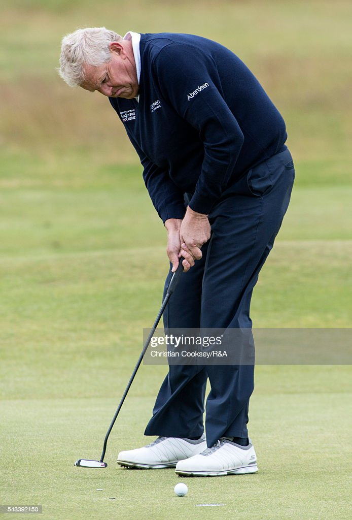 <a gi-track='captionPersonalityLinkClicked' href=/galleries/search?phrase=Colin+Montgomerie&family=editorial&specificpeople=157549 ng-click='$event.stopPropagation()'>Colin Montgomerie</a> of Scotland putts for a birdie on the 1st green at the Open Championship Qualifying - Gailes on June 28, 2016 in Irvine Ayrshire Scotland.