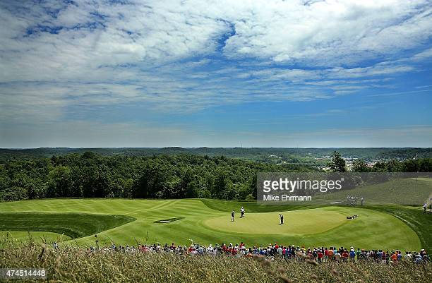 Colin Montgomerie of Scotland putts on the fifth hole during the third round of the 2015 Senior PGA Championship Presented By KitchenAid at the Pete...