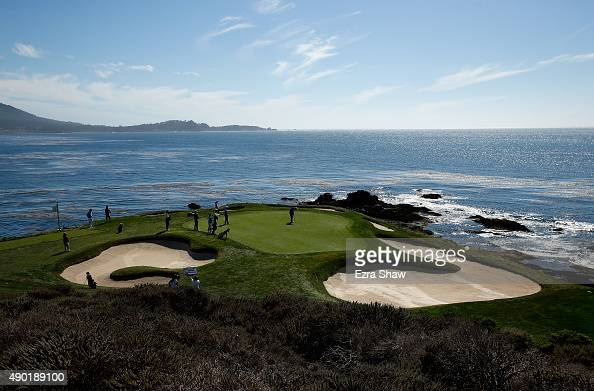 Colin Montgomerie of Scotland putts on the seventh hole during round two of the Nature Valley First Tee Open at the Pebble Beach Golf Links on...