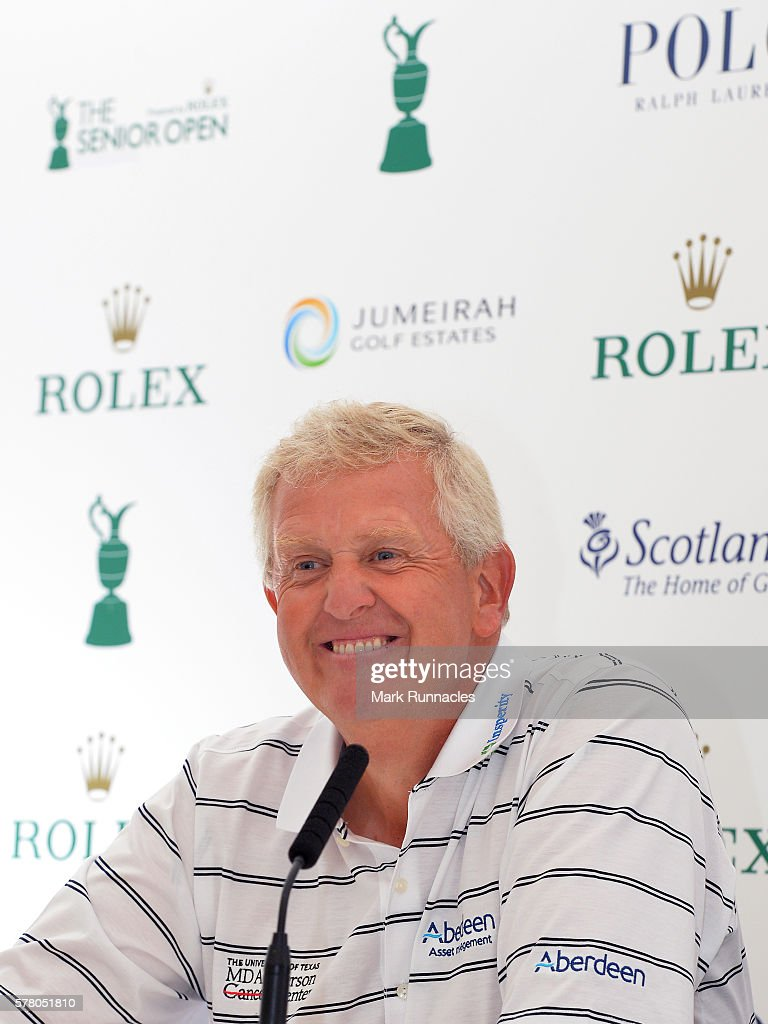Colin Montgomerie of Scotland talks to the media during The Senior Open Championship Previews at Carnoustie Golf Club on July 20 2016 in Carnoustie...