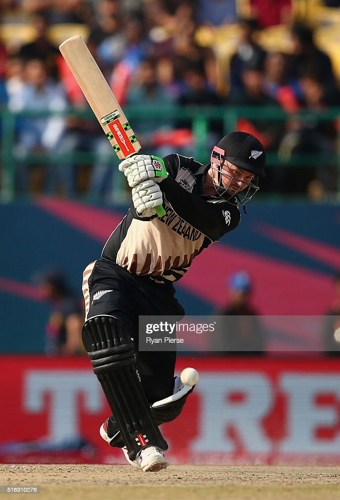 <a gi-track='captionPersonalityLinkClicked' href=/galleries/search?phrase=Colin+Munro&family=editorial&specificpeople=5037359 ng-click='$event.stopPropagation()'>Colin Munro</a> of New Zealand bats during the ICC World Twenty20 India 2016 Super 10s Group 2 match between Australia and New Zealand at HPCA Stadium on March 18, 2016 in Dharamsala, India.