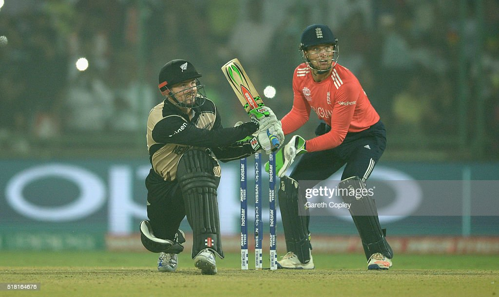 <a gi-track='captionPersonalityLinkClicked' href=/galleries/search?phrase=Colin+Munro&family=editorial&specificpeople=5037359 ng-click='$event.stopPropagation()'>Colin Munro</a> of New Zealand hits out for six runs during the ICC World Twenty20 India 2016 Semi Final match between England and New Zealand at Feroz Shah Kotla Ground on March 30, 2016 in Delhi, India.