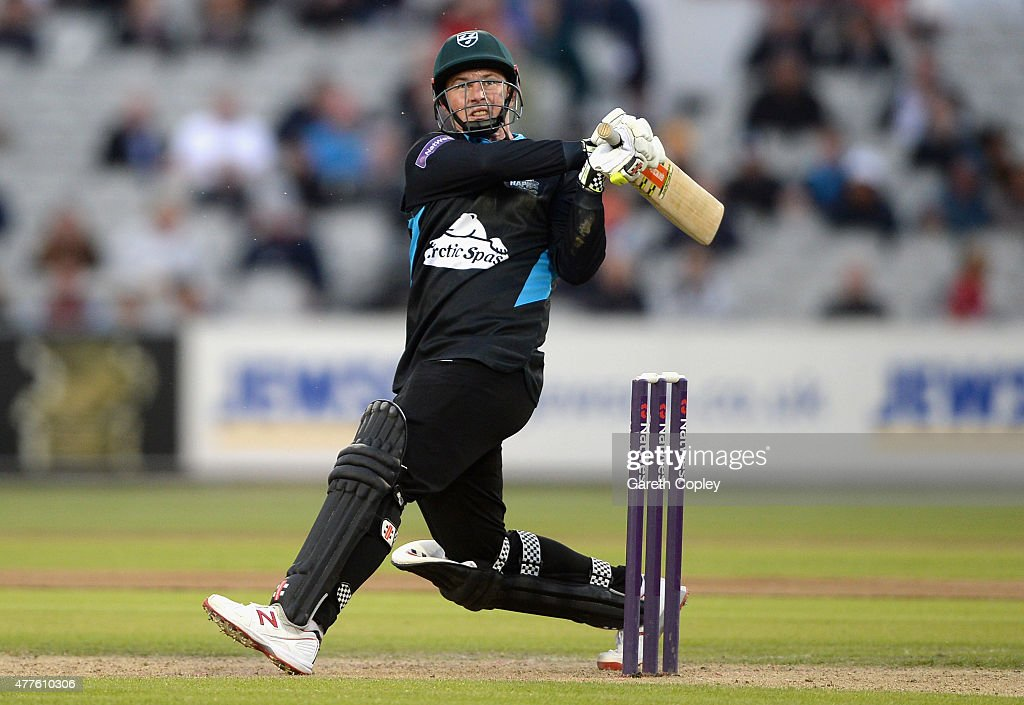 <a gi-track='captionPersonalityLinkClicked' href=/galleries/search?phrase=Colin+Munro&family=editorial&specificpeople=5037359 ng-click='$event.stopPropagation()'>Colin Munro</a> of Worcestershire hits out for six runs during the NatWest T20 Blast match between Lancashire Lighting and Worcestershire Rapids at Old Trafford on June 18, 2015 in Manchester, England.