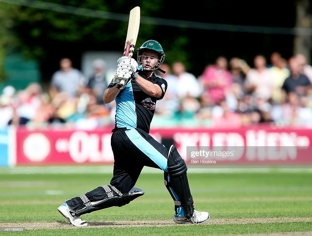 <a gi-track='captionPersonalityLinkClicked' href=/galleries/search?phrase=Colin+Munro&family=editorial&specificpeople=5037359 ng-click='$event.stopPropagation()'>Colin Munro</a> of Worcestershire in action during the Natwest T20 Blast match between Worcestershire Rapids and Lancashire Lightning at New Road on July 6, 2014 in Worcester, England.