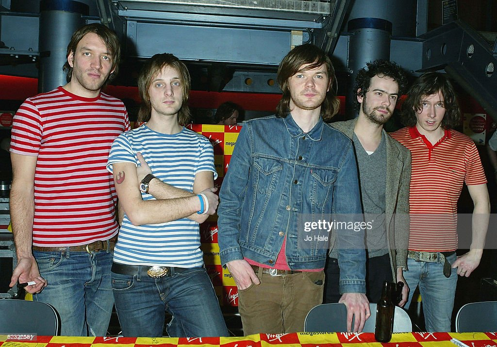 Colin Newton Rod Jones Roddy Woomble Gavin Fox Allan Stewart of Scottish indie band Idlewild attend an instore gig and signing session promoting...