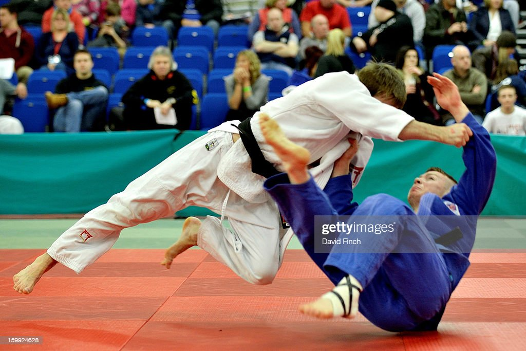 Colin Oates of Kumo JC (white), who reached seventh at the London Olympics, defeated Daniel Lyon of Warrington Warjukwai JC by an ippon (10 points) with this foot sweep as he progressed to the u66kgs silver medal category during the British Senior Judo Championships on Sunday, January 20, 2013 at the English Institute of Sport, Sheffield, England, UK.