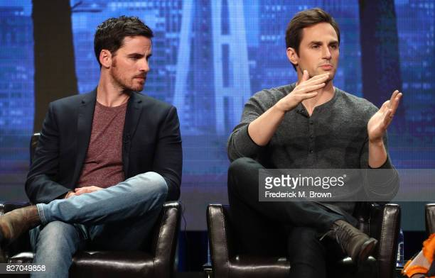 Colin O'Donoghue and Andrew J West of 'Once Upon A Time' speak onstage during the Disney/ABC Television Group portion of the 2017 Summer Television...