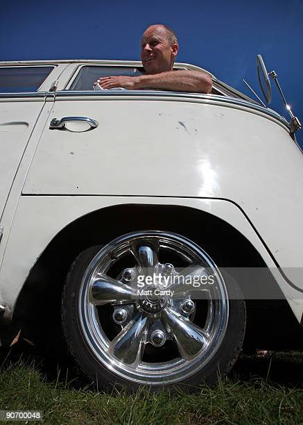 Colin Pace cleans the outside of his 1966 Volkswagen van at the 2009 Vanfest at the Three Counties Showground on September 13 2009 in Malvern Wells...