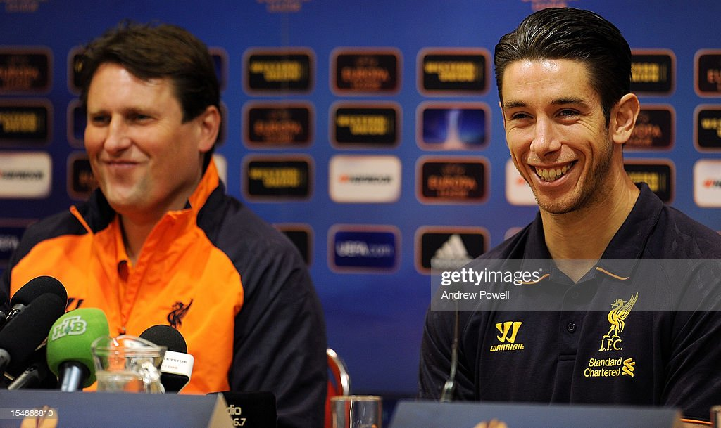 Colin Pascoe assistant manager of Liverpool and <a gi-track='captionPersonalityLinkClicked' href=/galleries/search?phrase=Brad+Jones+-+Soccer+Player&family=editorial&specificpeople=643165 ng-click='$event.stopPropagation()'>Brad Jones</a> (R) attend a press conference at Anfield on October 24, 2012 in Liverpool, England.