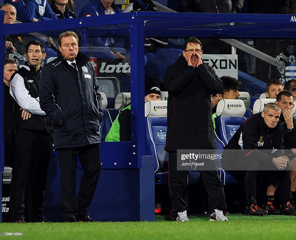 Colin Pascoe assistant manager of Liverpool and Harry Redknapp manager of Queens Park Rangers during the Barclays Premier League match between Queens Park Rangers and Liverpool at Loftus Road on December 30, 2012 in London, England.