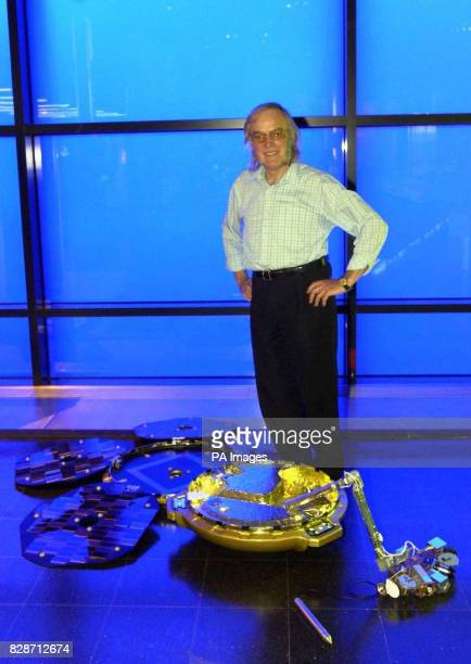 Colin Pillinger the lead scientists on the Beagle 2 project the Britshled Mars lander at the Science Museum in London with a full size model of the...