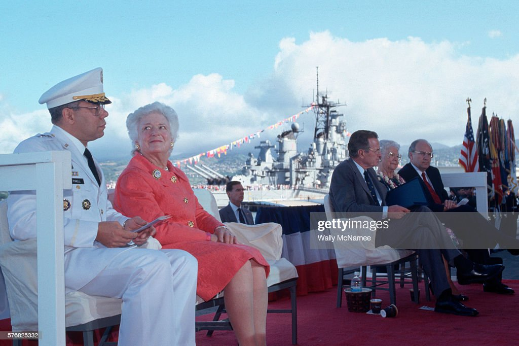 Colin Powell and the Bushes at Pearl Harbor Memorial