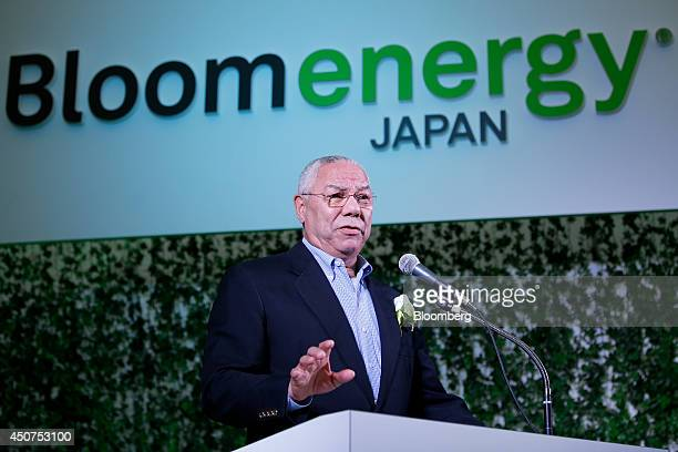 Colin Powell former US secretary of state and board member of Bloom Energy Corp speaks during the launch of the Bloom Energy Server a solid oxide...