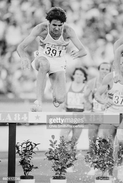 Colin Reitz of Great Britain competes to finish in 5th place in the final of the Men's 3000 metres steeplechase event at the 1984 Summer Olympics...