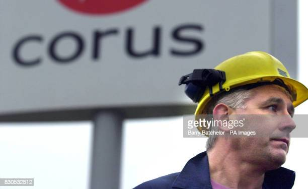Colin Robinson talks to the media at the main gate of Corus Steelworks in Llanwern south Wales after Corus announced more than 6000 job losses as...