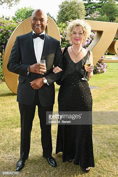 Colin Salmon and Fiona Hawthorne attend the Duke of Edinburgh Award 60th Anniversary Diamonds are Forever Gala at Stoke Park on June 9 2016 in...