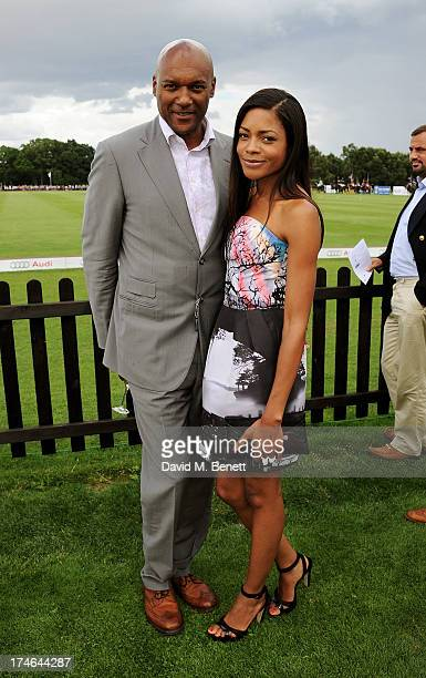 Colin Salmon and Noamie Harris attend the Audi International Polo at Guards Polo Club on July 28 2013 in Egham England