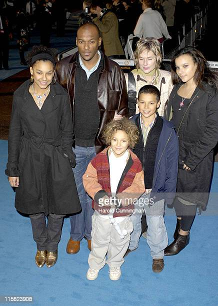 Colin Salmon Fiona Hawthorne and family during 'Flushed Away' London Premiere Arrivals at Empire Leicester Square in London Great Britain
