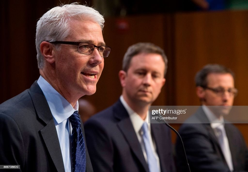 Colin Stretch (L), General Counsel of Facebook, Sean Edgett (C), Acting General Counsel of Twitter, and Richard Salgado (R), Director of Law Enforcement And Information Security of Google, testify during a US Senate Judiciary Subcommittee on Crime and Terrorism hearing on Russian influence on social networks on Capitol Hill in Washington, DC, October 31, 2017. /