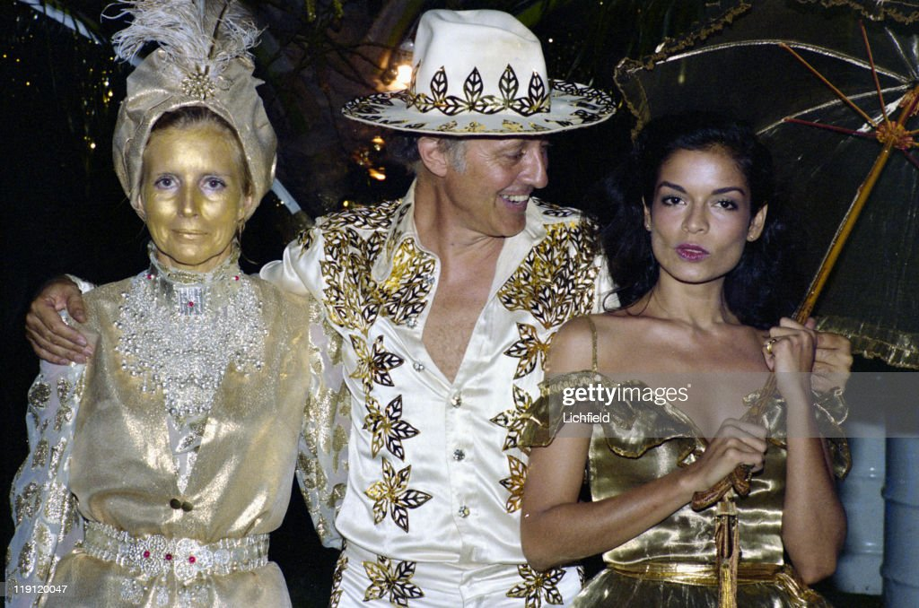 Colin Tennant and his wife Lady Anne and Bianca Jagger At gold themed 50th Birthday Party of Hon Colin Tennant on Mustique West Indies 22nd November...