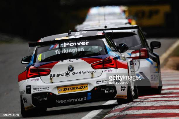 Colin Turkington of Team BMW drives on his way to winning race 2 during the British Touring Car Championship finale at Brands Hatch on October 1 2017...