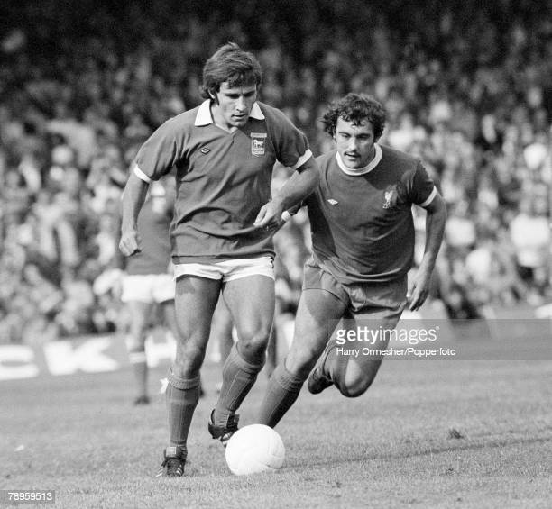 Football 13th September 1975 Portman Road Ipswich Ipswich Town 2 v Liverpool 0 Colin Viljoen is pursued by Liverpool's Ray Kennedy