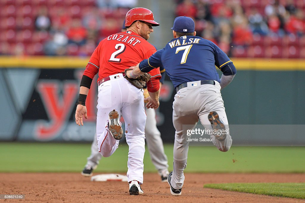 Colin Walsh #7 of the Milwaukee Brewers tags out <a gi-track='captionPersonalityLinkClicked' href=/galleries/search?phrase=Zack+Cozart&family=editorial&specificpeople=6889199 ng-click='$event.stopPropagation()'>Zack Cozart</a> #2 of the Cincinnati Reds in the second inning after Cozart got caught in a rundown between second base and third base at Great American Ball Park on May 5, 2016 in Cincinnati, Ohio.
