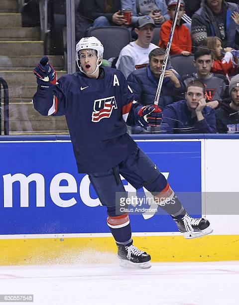 Colin White of Team USA celebrates a goal againstTeam Latvia during a 2017 IIHF World Junior Hockey Championship game at the Air Canada Centre on...