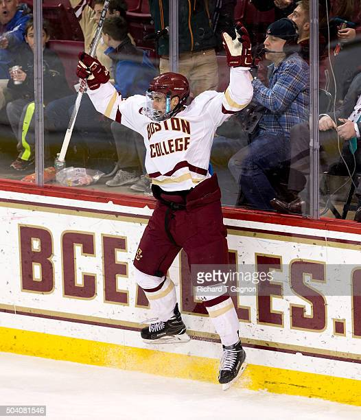 Colin White of the Boston College Eagles celebrates the first of his three goals against the Providence College Friars during NCAA hockey at Kelley...