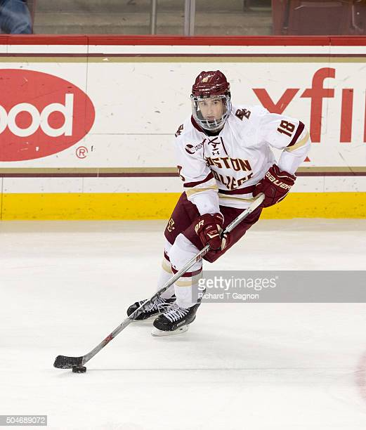 Colin White of the Boston College Eagles skates against the Providence College Friars during NCAA hockey at Kelley Rink on January 8 2016 in Chestnut...