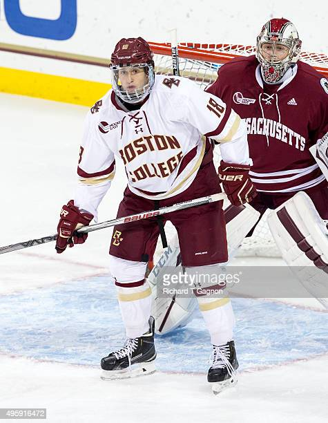 Colin White of the Boston College Eagles skates against the Massachusetts Minutemen during NCAA hockey at Kelley Rink on November 3 2015 in Chestnut...