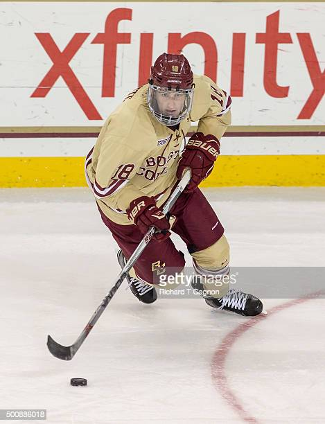 Colin White of the Boston College Eagles skates against the Notre Dame Fighting Irish during NCAA hockey at Kelley Rink on December 10 2015 in...