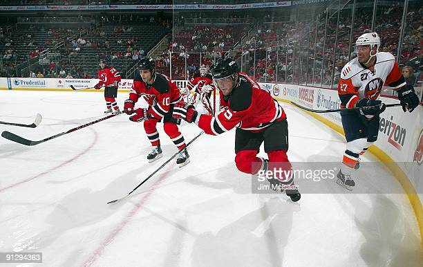 Colin White of the New Jersey Devils skates against the New York Islanders during their preseason game at the Prudential Center on September 29 2009...