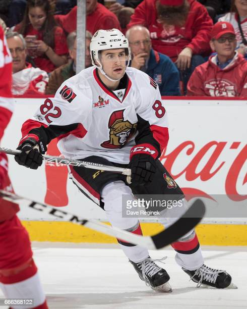 Colin White of the Ottawa Senators follows the play against the Detroit Red Wings during an NHL game at Joe Louis Arena on April 3 2017 in Detroit...