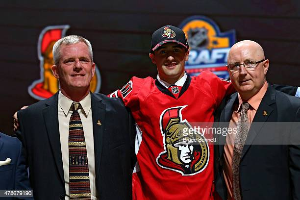 Colin White poses after being selected 21th overall by the Ottawa Senators in the first round of the 2015 NHL Draft at BBT Center on June 26 2015 in...