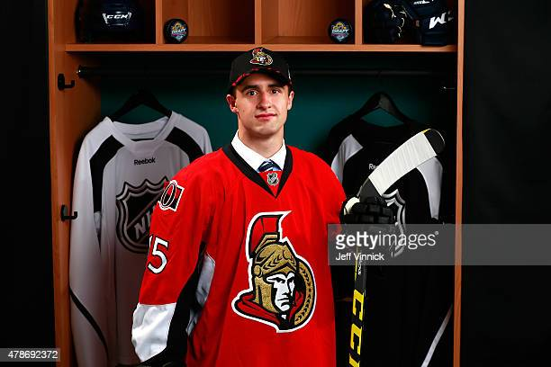 Colin White poses for a portrait after being selected 21st overall by the Ottawa Senators during Round One of the 2015 NHL Draft at BBT Center on...