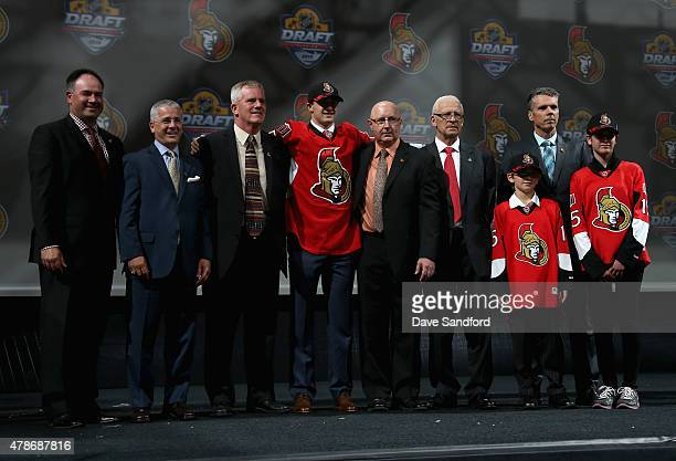 Colin White poses on stage after being selected 21st overall by the Ottawa Senators during Round One of the 2015 NHL Draft at BBT Center on June 26...