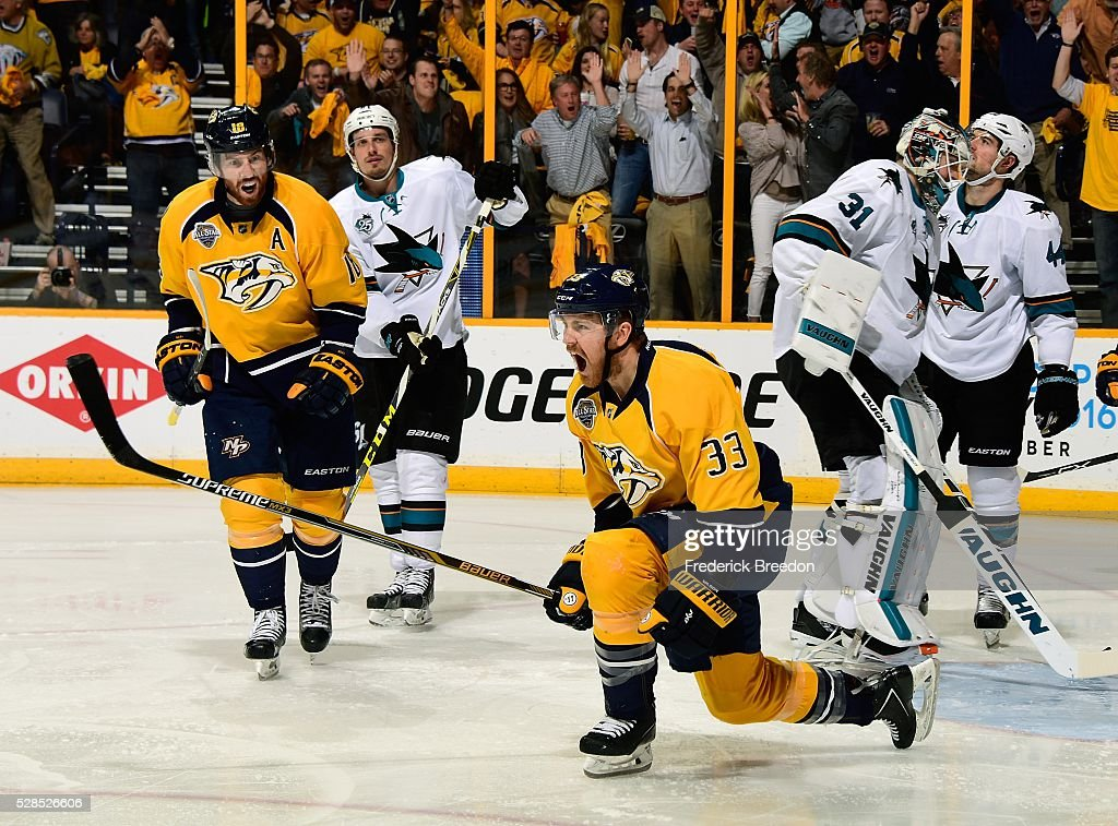 Colin Wilson #33 of the Nashville Predators celebrates after scoring a goal against goalie <a gi-track='captionPersonalityLinkClicked' href=/galleries/search?phrase=Martin+Jones+-+Hockeyspelare&family=editorial&specificpeople=12318960 ng-click='$event.stopPropagation()'>Martin Jones</a> #31 of the San Jose Sharks during the first period of Game Four of the Western Conference Second Round during the 2016 NHL Stanley Cup Playoffs at Bridgestone Arena on May 5, 2016 in Nashville, Tennessee.